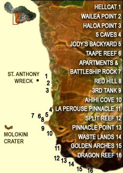 map of south Maui dive spots